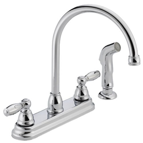 Peerless Claymore 2-Handle Kitchen Sink Faucet with Side Sprayer, Chrome P299575LF
