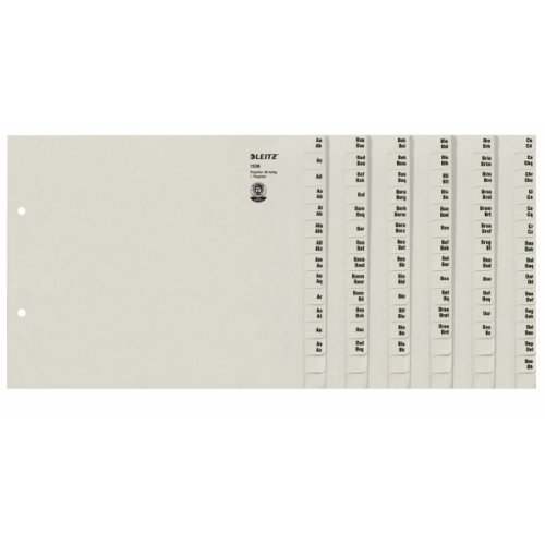 Leitz Register, Trennblätter mit Taben und alphabetischem Aufdruck A-Z für 36 Ordner, Halbe Höhe und Überbreite, Grau, 100% recyceltes Papier, Blauer Engel Siegel, 13360085