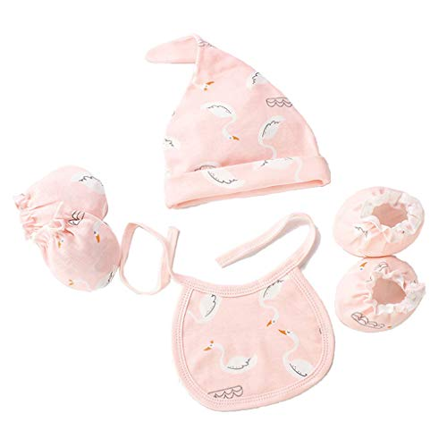 Manyo - Juego de 4 guantes para beb antiaraazos + sombrero para beb + calcetines personalizado + babero beb nacimiento, accesorio unisex para beb (rosa, para 0 a 3 meses)