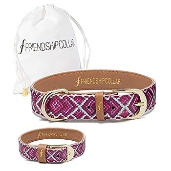 FriendshipCollar Dog Collar and Matching Bracelet - The Pink Princess - XXX-Small