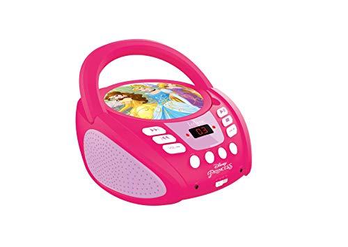 Lexibook Disney Princess Boombox CD-Player, AUX-Eingangsbuchse, AC-Betrieb oder Batterie, Pink/Weiß, RCD108DP_10