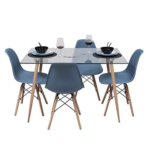 Conjunto de Comedor de diseño nórdico Cairo Tower Mesa de Cristal 120x80 cm y 4 sillas Tower (Azul Horizonte)