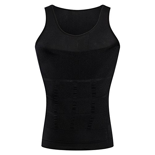 BaronHong Gynäkomastie Kompression Shirt Weste zu verstecken Mann Boobs Moobs Abnehmen Männer Shapewear Flatten Ganze Abdomen (schwarz, M)