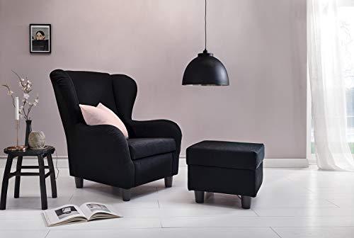 Furniture for Friends Möbelfreude® Ohrensessel Schwarz Wohnzimmersessel mit Hocker