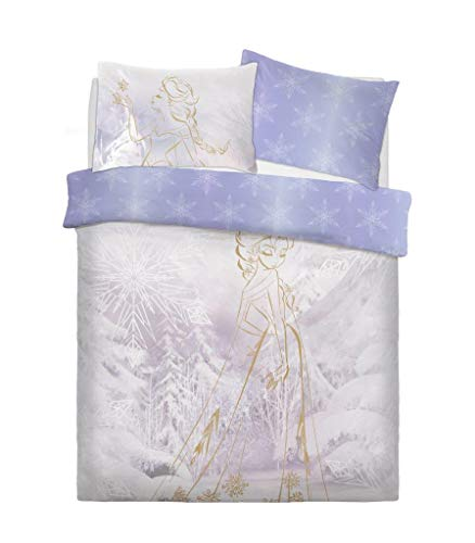 Styleliving @ - Morbido set biancheria da letto con copripiumino tema Disney e federe, Policotone, Frozen Rose Gold, Doppio
