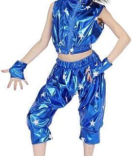 IEFIEL Traje de Baile Jazz Hip Hop Disfraz de Danza para Niña Crop Top sin Mangas Pantalón Cintura Elástica Disfraces Brillo