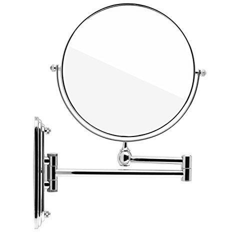 DOWRY M1207 - Espejo de aumento doble para pared (aumento de 7/10 aumentos y normal, diámetro de 20 cm, cromado), cobre, chrome, 7x Fach
