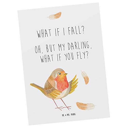 Mr. & Mrs. Panda Einladung, Karte, Postkarte Rotkehlchen mit Federn mit Spruch - Farbe Weiß