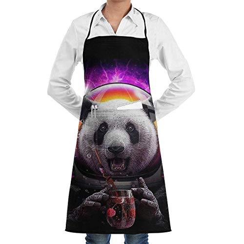 Astronaute Panda Boisson Jus de cerise Drink Cuisine Bavoir Tablier de Cuisine avec Poches Tabliers Pour Femmes Hommes Cuisson Jardin