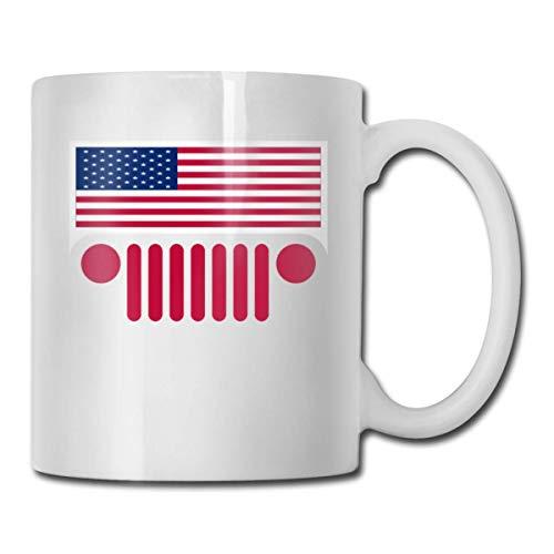 N\A Amerikanische Flagge Jeep Front Kaffeetasse Lustige Tasse Teetasse Geburtstag Keramik