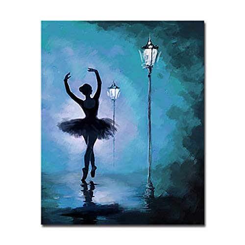 DIY Schilderen Door Nummers Handverf Dansende Ballerina Onder Streetlight Olie Afbeeldingen Muur Kunst Digitale Tekening Kleurplaten Home Decor 40x50cm(16 * 20