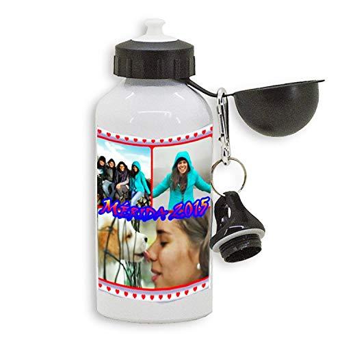 RecontraMago Waterfles, aluminium drinkfles, 500 ml, creëer je reisfles met je foto of je favoriete tekst, drinkfles voor sport en kinderen, camping, school, sportschool
