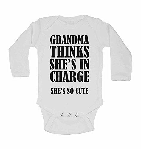 Grandma pense Elle est en charge She's so Cute – Neuf personnalisé bébé à manches longues gilets bodies bébé SE Développe pour – garçons, filles – Blanc – 18–24 mois
