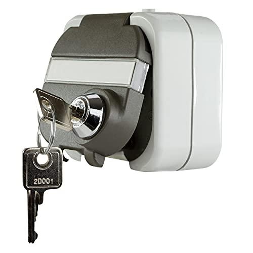 REV 0510224555 Ritter AquaTop Feuchtraum-Steckdose mit Sicherheits-Schloss IP44 | Aufputz-Montage | grau/dunkelgrau