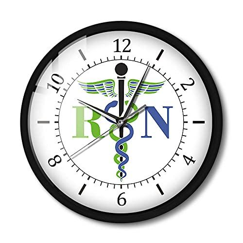 Reloj de Pared con Control de Sonido, médico, médico, Insignia médica, Exclusivo, Enfermera registrada, RN, Reloj con luz de enfermería, 12 Pulgadas