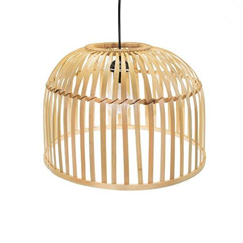 BOURGH Bambus Lampe MONTALTO - Lampe hängend mit Lampenschirm Bambus, 40 cm Durchmesser, korbgeflecht - Hängeleuchte Hängelampe Kronleuchter Deckenleuchte Pendelleuchte Schlafzimmerlampe Laterne