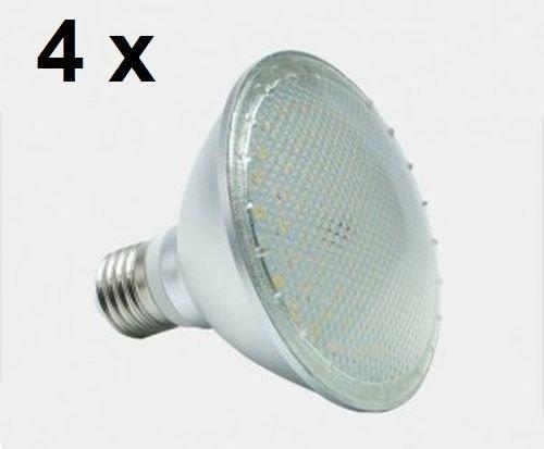 4 x 12 watt PAR 30 LED-lamp, schijnwerperfitting E27, lichtkleur warmwit 2700 Kelvin, 120 ° stralingshoek, 1050 lumen komt overeen met ca. 90 watt gloeilamp. Beschermingsklasse IP44 voor binnen en buiten.