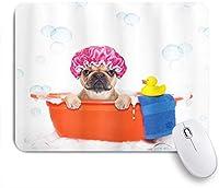 EILANNAマウスパッド 泡にアヒルのクリーニングテーマをテーマにしたお風呂の犬 ゲーミング オフィス最適 おしゃれ 防水 耐久性が良い 滑り止めゴム底 ゲーミングなど適用 用ノートブックコンピュータマウスマット