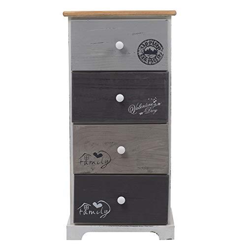 Rebecca Mobili Schubladenschrank 4 Schubladen, Hochkommode Vintage, für Schlafzimmer Badezimmer, Paulownienholz, Weiß Grau – Maße: 75 x 35 x 29 cm (HxLxB) - Art. RE4333