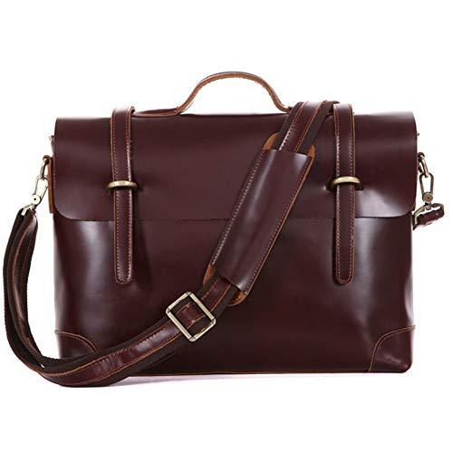 LYHLYH aktetassen van leer voor mannen laptop tas - schooltas computer schoudertas waterdicht wijnoogst handtas voor reizen kantoor 15,6 inch