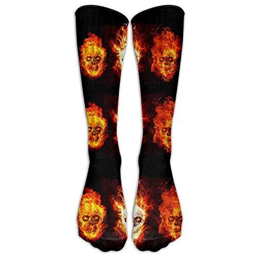 Skull Head Fire Unisex Socken Kniestrümpfe Sport Athletic Crew Socken Einheitsgröße 50 cm