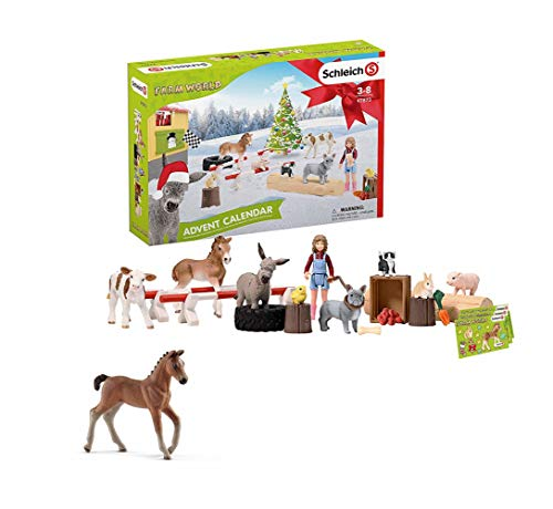SCHLEICH Farm World 2019 Adventskalender, Mehrfarbig (Farm World 2019 Adventskalender + Hanov. Fohlen)