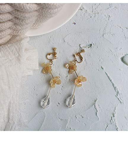 SALAN Flower de acrílico Simple Largo Elegante Clip Retro en Pendientes Línea plegada Línea de Agua Cristal Cristal Clip Pendientes para Mujeres