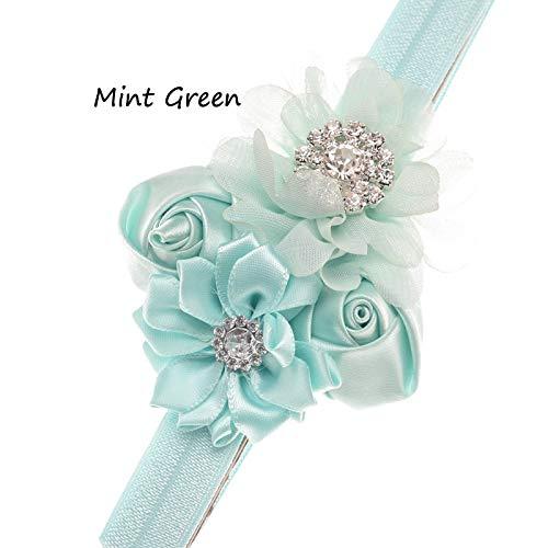 Kfang-headbands, 1 STÜCKE Doppel Rose Knospen Chiffon Blumen Elastisches Stirnband Für Mädchen Strass Boutique Haar Blume Stirnband Taufe Geschenk Haarschmuck (Farbe : Mint Green)