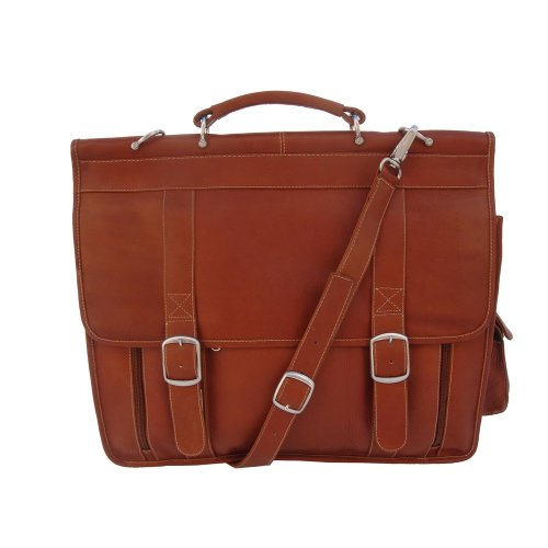 Piel Leather European Briefcase, Saddle, One Size