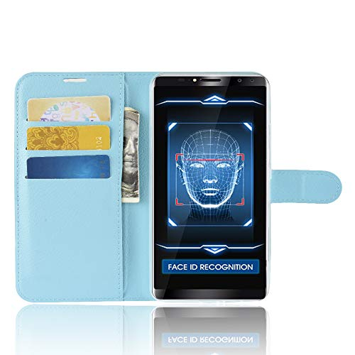 TenYll Oukitel K6 Wallet Tasche Hülle, PU Schutzhülle [Premium Leder] [Ultra Slim] [Card Slot] [Ständer] Flip Wallet Hülle Etui für Oukitel K6 -Blau