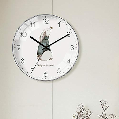 QETUOA Reloj De Pared Artístico De Estilo Nórdico, Reloj De Dormitorio Y Sala De Estar, Reloj De Tendencia De Moda Creativa De Personalidad Simple Moderna (D,14 in)