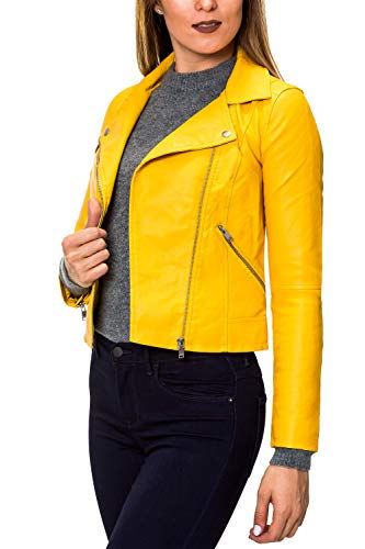 ONLY GIACCHETTO DONNA SUMMER FAUX LEATHER CROP BIKER 15144751 34 giallo