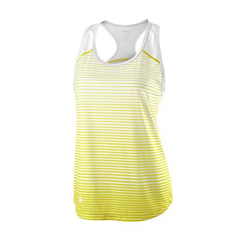 Wilson Camiseta de tenis de tirantes para mujer, W Team Striped Tank, Poliéster, Amarillo/Blanco, Talla: S, WRA766101
