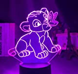 3D Led König Der Löwen Schlaflicht Simba7 Farbwechsel Schlaflicht Dekoration Home Geschenk Baby Spielzeug Kindergeburtstag Zimmerdekoration 7 Farbe Fernbedienung