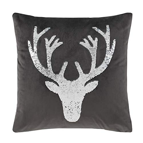 Catherine Lansfield Sequin Stag Cushion Cover 43x43cm Grey