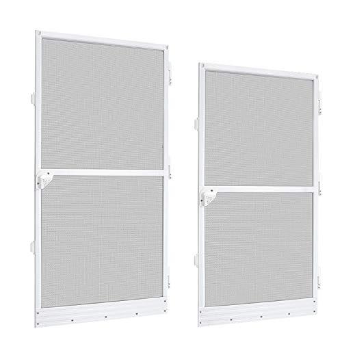 Aufun Mosquitera para puerta de aleación de aluminio, 100 x 210 cm, con marco de aluminio, color blanco