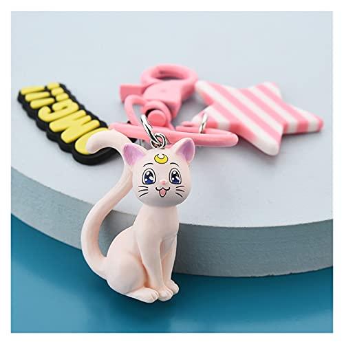 Xx101 Llavera Creativo Lindo Gato Dibujos Animados Llavero Pareja Amantes Llavero de Coches Mujer Bolso Accesorios Llavero Animal Metal Colgante (Color : White Cat)