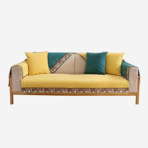 YUTJK Cojín de sofá de Encaje Personalizado,Funda de sofá de Esquina,Fundas de Asiento de sofá de Tela para Sala de Estar,Funda Protectora de Muebles,para Dormitorio,Amarillo