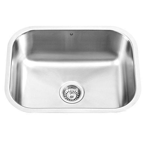 Vigo All-in-one Undermount Stainless Steel 23 in. Single Bowl Kitchen Sink in Stainless Steel