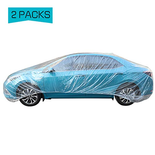 PAMASE 2 Set of Thicken PE Plastic Car Cover- 11.8' x 21.3' Disposable Car Cover with Elastic Band Clear Waterproof Dustproof Car Protective Cover for Hatchbacks Small Sedan Cars