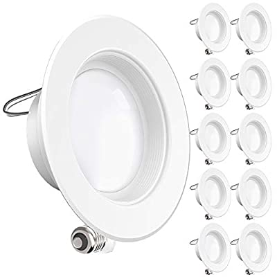 Sunco Lighting 10 Pack 4 Inch LED Recessed Downlight, Baffle Trim, Dimmable, 11W=60W, 3000K Warm White, 660 LM, Damp Rated, Simple Retrofit Installation - UL + Energy Star