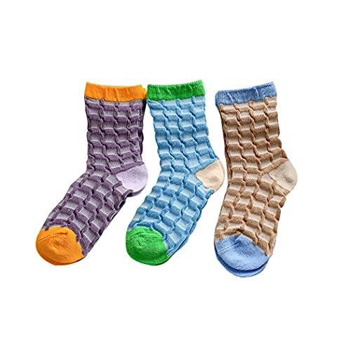 ZOYLINK Calcetines De Tripulación Para Niños 3 Pares De Calcetines Casuales De Moda Calcetines Estampados Multicolores Creativos Calcetines De Algodón Ligeros Antideslizantes Para Niños Niñas