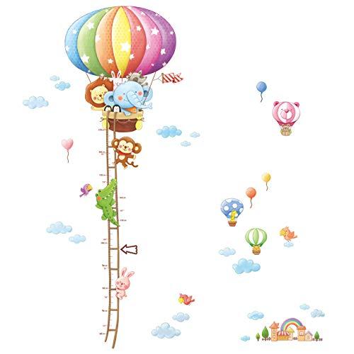 DECOWALL DAT-1606N Gráfica de Altura de Globo Aerostáticos de Animales Vinilo Pegatinas Decorativas Adhesiva Pared Dormitorio Saln Guardera Habitaci Infantiles Nios Bebs