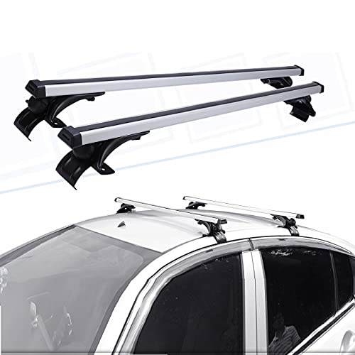 """Partol 47"""" Universal Roof Rack Cross Bar Aluminum Alloy Cargo Bar with 3 Different Sizes of Mounting Clamp, Car Roof Rack Crossbars Luggage Carrier for Most Car Vehicles SUV"""