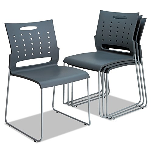 Alera Continental Series Perforated Back Stacking Chairs, Charcoal Gray (Case of 4)