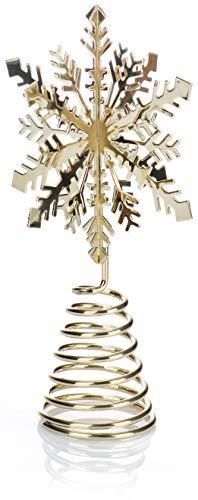 com-four® Weihnachtsbaumspitze Schneeflocke - Christbaumspitze für den Weihnachtsbaum - Schneeflocke zum Hinstellen für Weihnachten (goldfarben)