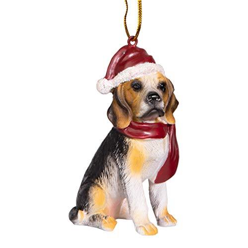 Design Toscano Beagle Chien de Vacances Décorations d'Arbre de Noël Ornement Décorations de Noël, 8 cm, polyrésine, palette complète de couleur