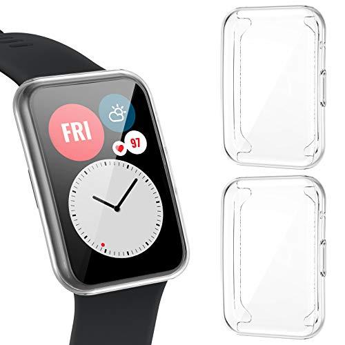 CAVN [2-pezzi] Custodia Compatibile con Huawei Watch Fit Protettiva Pellicola, TPU Flessibile Protettiva per Display a Protezione Totale Copertura Completa Custodia Antiurto per Huawei Watch Fit