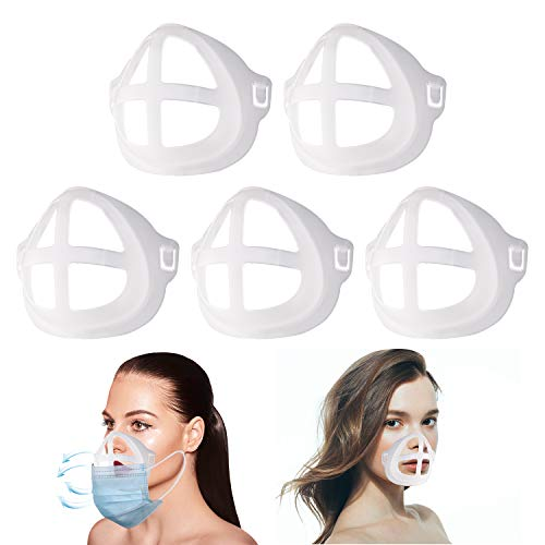 Silicone 3D Bracket for Comfortable Wearing - Protect Lipstick Lips | Mask Inner Support Frame, Reusable Washable, Translucent, 5 Pcs
