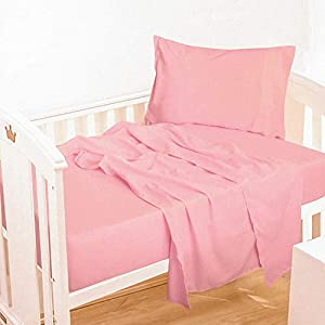 NTBAY 3-Piece Microfiber Toddler Sheet Set, Solid Crib Fitted Sheet Flat Sheet and Envelope Pillowcase, Baby Bedding Sheet & Pillowcase Sets, Pink